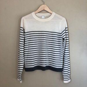 Club Monaco cream grey stripe pullover sweater